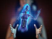 Cute woman radiography on hologram — Stock Photo