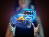 Transparent car concept on hologram — Stock Photo