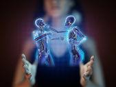 Boxing men on hologram — Stock Photo