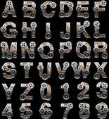 Alphabet en bois avec des engrenages — Photo