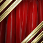 Gold on red curtain — Stock Photo