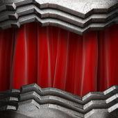 赤いカーテンの金 — 图库照片