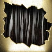 Goud op zwarte gordijn — Stockfoto