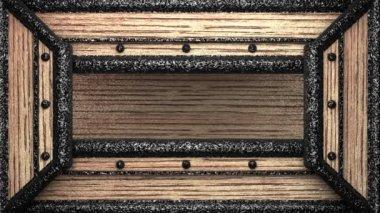 Knappe op houten stempel — Stockvideo
