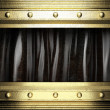 Gold on black curtain — Stock Photo