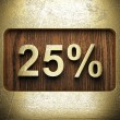 Stock Photo: Golden percentage on wooden wall