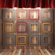 Red fabric curtain with frames — Stockfoto