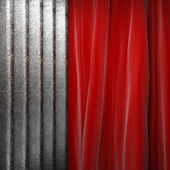 Metal on red curtain — Stock Photo
