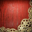 Gear wheels on wood - Foto Stock
