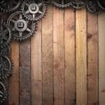 Gear wheels on wood — Stock Photo #22202807
