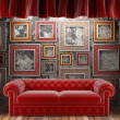 Red fabric curtain with frames and sofa - 