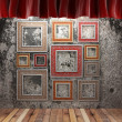 Red fabric curtain with frames - Foto Stock
