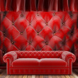 Royalty-Free Stock Photo: Red fabric curtain with sofa