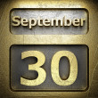 Stock Photo: September 30 golden sign