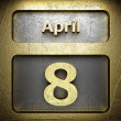 April 8 golden sign — Stock Photo