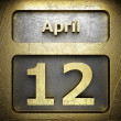 Stock Photo: April 12 golden sign
