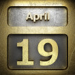 April 19 golden sign — Stock Photo