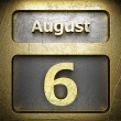 Stock Photo: August 6 golden sign