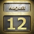 Stock Photo: August 12 golden sign