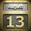 Stock Photo: August 13 golden sign