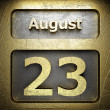 Stock Photo: August 23 golden sign