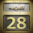 Stock Photo: August 28 golden sign