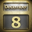 December 8 golden sign — Stock Photo
