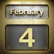 Stock Photo: February 4 golden sign