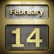 February 14 golden sign — Stock Photo