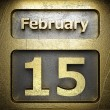 February 15 golden sign — Stock Photo
