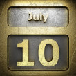 Stock Photo: July 10 golden sign
