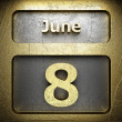 June 8 golden sign — Stock Photo