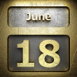 June 18 golden sign — Stock Photo