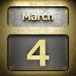 Stock Photo: March 4 golden sign