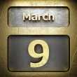 Stock Photo: March 9 golden sign