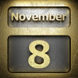 November 8 golden sign — Stock Photo