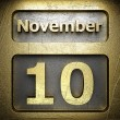 November 10 golden sign — Stock Photo
