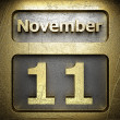 November 11 golden sign — Stock Photo
