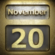 Stock Photo: November 20 golden sign