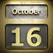 Stock Photo: October 16 golden sign