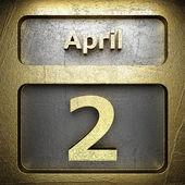 2 Апреля Золотой знак — Стоковое фото