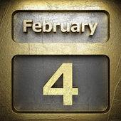 4 de febrero oro signo — Foto de Stock