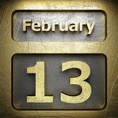 February 13 golden sign — Stock Photo