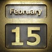 El 15 de febrero oro signo — Foto de Stock
