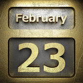 February 23 golden sign — Stock Photo