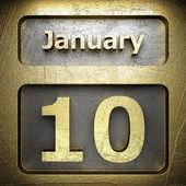 10 января золотой знак — Стоковое фото