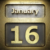 January 16 golden sign — Stock Photo