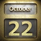 22. října zlaté znamení — Stock fotografie