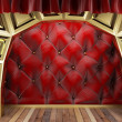 Red fabric curtain on golden stage — Stock Photo #23599099