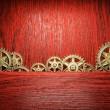 Gear wheels on wood — Stock Photo #23664007